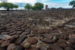 Taputapuatea Marae av arkeologiska platsen för Raiatea den franska Polynesien Unesco arkivfoton
