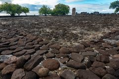 Taputapuatea Marae del sitio arqueológico francés de la UNESCO de Raiatea Polinesia fotos de archivo