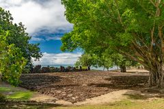 Taputapuatea Marae of Raiatea French polynesia Unesco archeological site royalty free stock photo