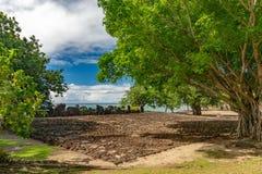 Taputapuatea Marae van archeologische plaats van Unesco van Raiatea de Franse polynesia royalty-vrije stock foto