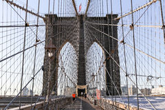 Taqueur sur le pont de Brooklyn Images libres de droits