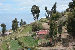 Taquile海岛的喀喀湖 秘鲁 免版税库存照片