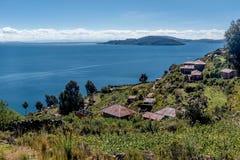 Taquile海岛看法在普诺,秘鲁附近的 库存照片