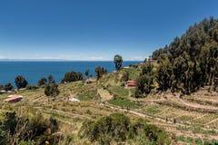 Taquile海岛看法在普诺,秘鲁附近的 库存图片