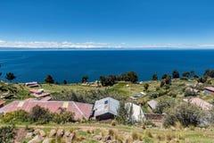 Taquile海岛看法在普诺,秘鲁附近的 免版税库存照片