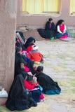Taquile的传统社区, Titicaca湖,秘鲁 图库摄影