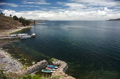 Taquile harbor Stock Photography
