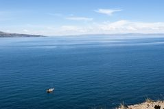 Taquile island, Titicaca lake Per . Panoramic view. stock photos