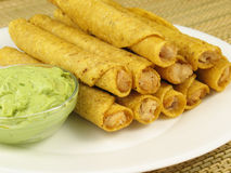 Taquitos and Guacamole 1 Stock Images