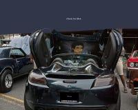 Tarántula en la demostración de coche Imagenes de archivo
