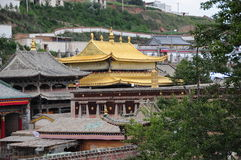 Tar Lamasery golden roof. Tar is located in Xining City China Qinghai Province. Built in the Ming Dynasty Jiajing 30 years (1560), it is one of six major Tibetan Stock Image
