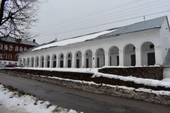 Tar ranks in Kostroma was built in the middle of the 19th century. Brick building – one of the constructions of vast shopping complex, located between the Stock Photo