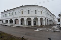 Tar ranks in Kostroma was built in the middle of the 19th century. Brick building – one of the constructions of vast shopping complex, located between the Royalty Free Stock Photos