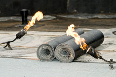 Tar roofing felt roll and blowpipe