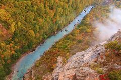 Tara canyon in autumn ambience. View from above of the canyon in a misty morning Stock Photography