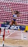 TARA DAVIS USA auf dem Weitsprung in Tampere, Finnland am 9. Juli 2018 Die Meisterschaften IAAF-Weltu20 am 12. Juli 2018 Stockfotos