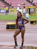 TARA DAVIS USA auf dem Weitsprung in Tampere, Finnland am 9. Juli 2018 Die Meisterschaften IAAF-Weltu20 am 12. Juli 2018 Lizenzfreie Stockbilder
