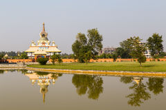 Tara Foundation Buddhist temple in Lumbini, Nepal. Lumbini, Nepal - November 26, 2014:  The Tara Foundation Buddhist temple at Buddhas birthplace Stock Photography
