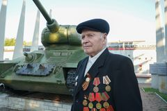 Elderly man with orders and medals. Tara, Omsk region, Russia. A veteran of the Great Patriotic War stock image