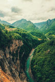 The Tara River and Canyon, and its countryside, in northern Montenegro. Montenegro,Tara River next to Djurdjevi bridge Royalty Free Stock Photo