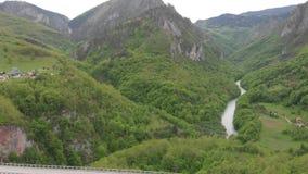 Tara river canyon. Most popular place for visit is the Durdevica bridge. Jurjevich Bridge in Zabljak, Montenegro stock footage