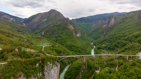 Tara river canyon. Most popular place for visit is the Durdevica bridge. Jurjevich Bridge in Zabljak, Montenegro royalty free stock photography