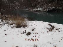 The Tara River and the canyon in the wintertime stock image
