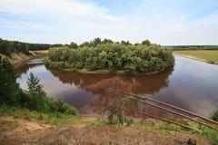 Tara River near the village of Okunevo. Royalty Free Stock Image