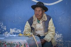 Unidentified indigenous Yampara man with traditional clothing and hat, on the local Tarabuco Sunday Market, Bolivia, South America. TARABUCO, BOLIVIA - AUGUST 06 Royalty Free Stock Images