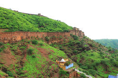 Taragarh fort bundi india. One of the best forts in india, still standing regally atop a hill containing ancient monuments and ruins and a palace Royalty Free Stock Images