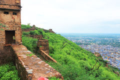 Taragarh fort bundi india. One of the best forts in india, still standing regally atop a hill containing ancient monuments and ruins and a palace Royalty Free Stock Photo