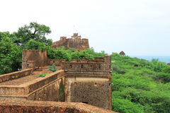 Taragarh fort bundi india. One of the best forts in india, still standing regally atop a hill containing ancient monuments and ruins Royalty Free Stock Photo