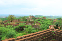 Taragarh fort bundi india. One of the best forts in india, still standing regally atop a hill containing ancient monuments and ruins Royalty Free Stock Photos
