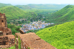 Taragarh fort bundi india. One of the best forts in india, still standing regally atop a hill containing ancient monuments and ruins Royalty Free Stock Images