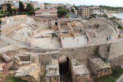 Taragona amphitheatre roman ruins in spain Stock Photo