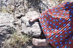 Tarahuamaras kid feet. Little kids in the sierra Tarahumara are always barefoot Stock Image