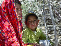 Tarahumara native woman with her child Stock Images