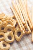 Tarallini bread and grissini sticks Stock Images