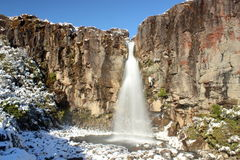 Taranaki Falls in winter time. Popular Taranaki Falls in winter time in the beautiful countryside of Tongariro national park in New Zealand Stock Images