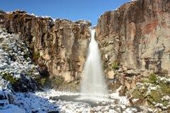 Taranaki nedgångar i vintertid Arkivbilder