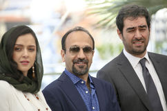 Taraneh Alidoosti, Ashgar Farhadi and Shahab Hosseini. Attend `The Salesman Forushande` Photocall during the 69th Cannes Film Festival at the Palais on May 21 Royalty Free Stock Image