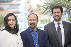 Taraneh Alidoosti, Ashgar Farhadi, Shahab Hosseini. Attend `The Salesman Forushande` Photocall during the 69th Cannes Film Festival at the Palais on May 21 Royalty Free Stock Photos