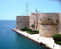 Taranto, Apulia - Italy. The Aragonese Castle. Taranto is a coastal city in Apulia, Southern Italy. It has a number of sites of historic value. Sitting along the Stock Photography