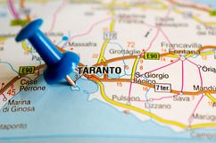 Taranto on map. Close up shot of Taranto on map with blue push pin Royalty Free Stock Images