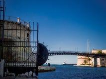 The taranto swing bridge on the taranto canalboat Royalty Free Stock Images