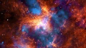 The Tarantula Nebula or 30 Doradus in Magellanic Cloud exploration on deep space. 4K Flight 3D animation.