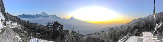 Tarapani Nepal panorama Zdjęcia Royalty Free
