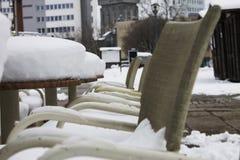 Taras kulił się z śniegiem Obraz Stock