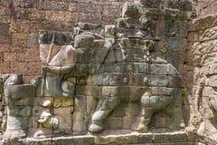 Taras słonie, Angkor Wat, Kambodża Obrazy Stock