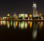 Taras Shevchenko Embankment panorama at night late May Royalty Free Stock Photos